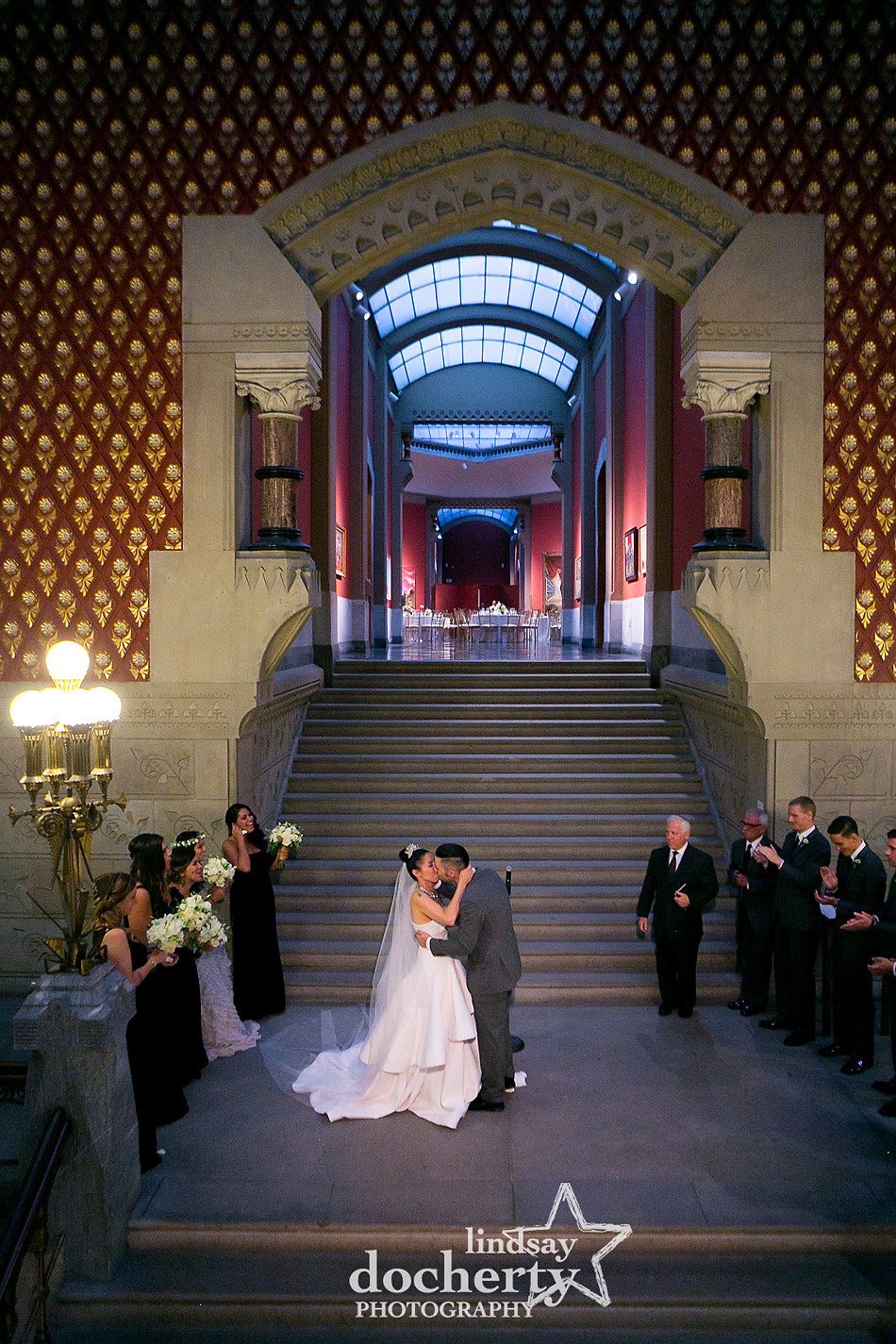 first kiss with alternative bride and groom wedding at PAFA in Philadelphia