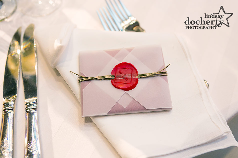 custom wax seal on place setting favors for wedding at PAFA in Philadelphia