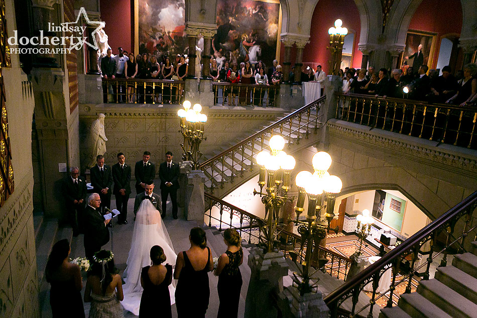 Alternative bride and groom during ceremony at PAFA wedding in Philadelphia