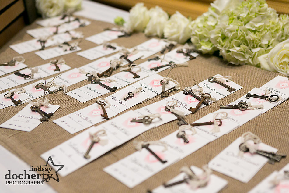 vintage keys as escort cards for wedding at PAFA in Philadelphia
