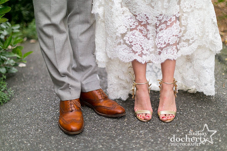 gold-Manolo-shoes-for-the-bride-and-lace-dress-at-fall-wedding-at-Tyler-Arboretum