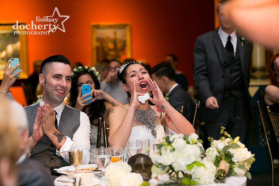 Alternative bride and groom during reception toasts at PAFA wedding in Philadelphia