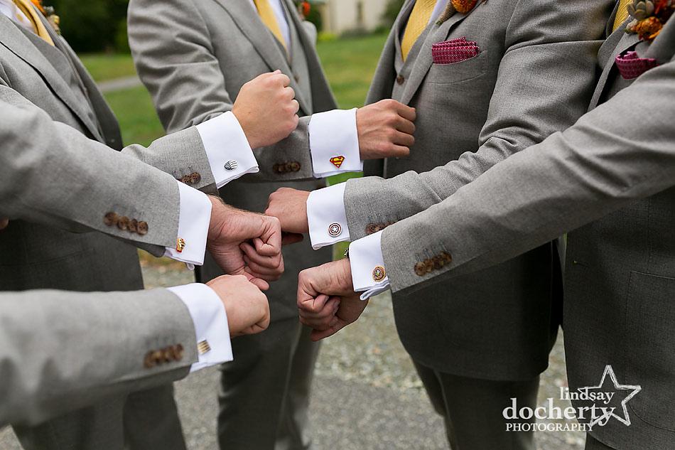groomsmen-superhero-cufflinks-at-fall-wedding-at-Tyler-Arboretum