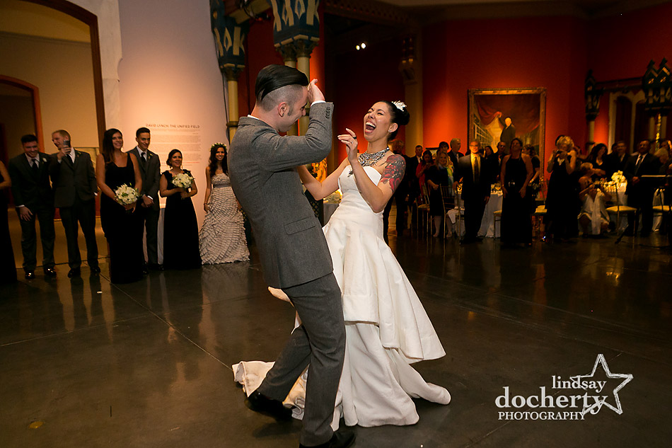 bride and groom funny first dance at PAFA wedding in Philadelphia