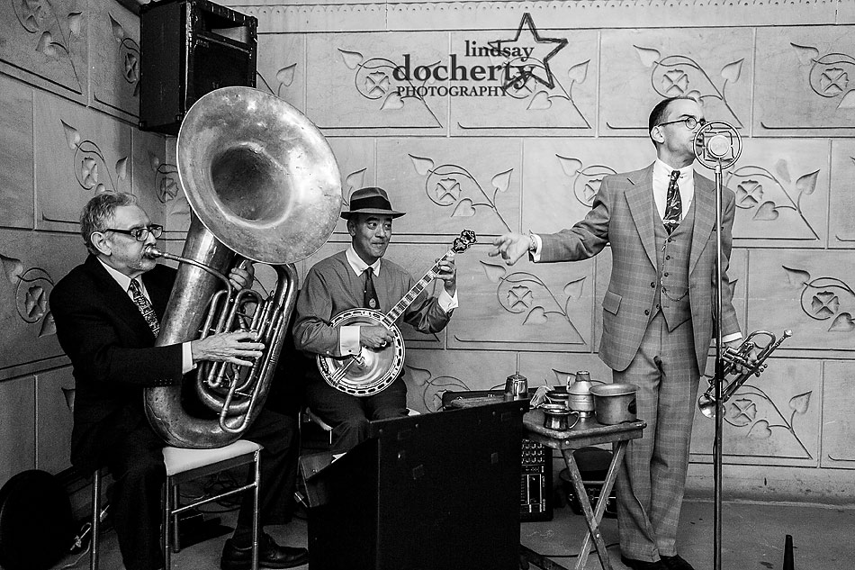 Old Timey trio playing music during cocktail hour