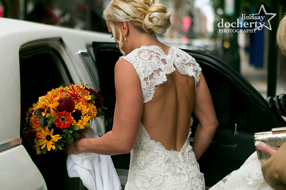 open-back-lace-wedding-dress-and-updo-for-fall-wedding-at-Tyler-Arboretum
