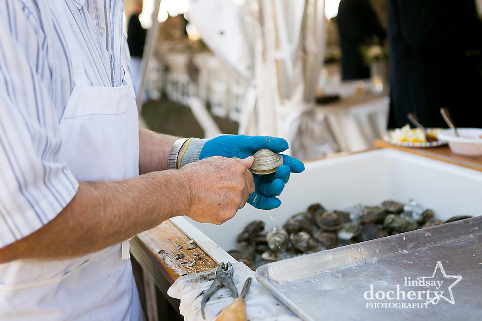 oyster shucking station at backyard wedding on Shelter Island in New York