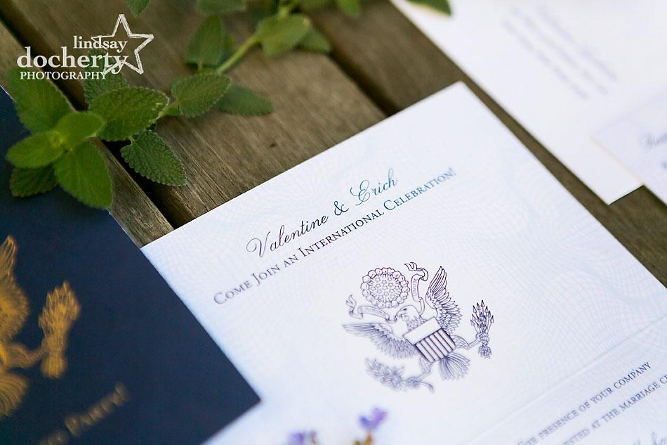 passport wedding invitation for Greek bride and New York groom for destination wedding on Shelter Island, New York