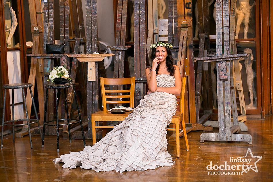 bridesmaid in gray BHLDN dress and hair wreath at PAFA wedding in Philadelphia