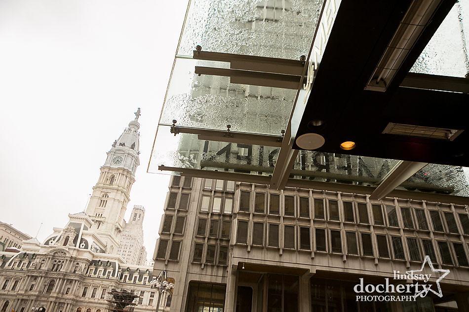 rainy wedding day in Philadelphia at Le Meridien with City Hall