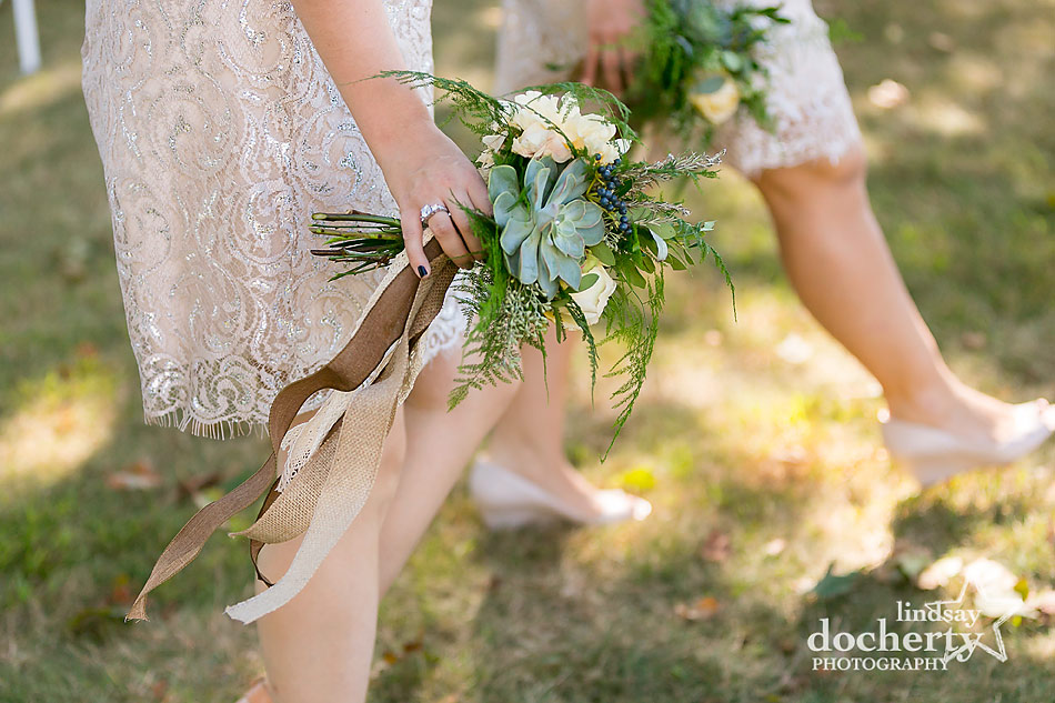 succulent and purlap bouquets and short bridesmaids dresses in champagne for backyard wedding on Shelter Island, New York