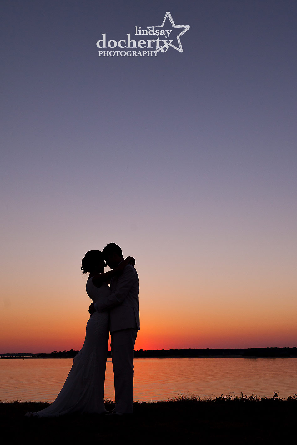 bride and groom at sunset at backyard wedding on Shelter Island in New York