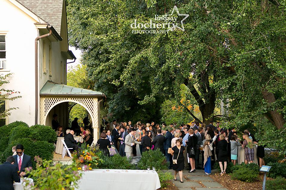 wedding-cocktail-hour-at-Tyler-Arboretum-in-media
