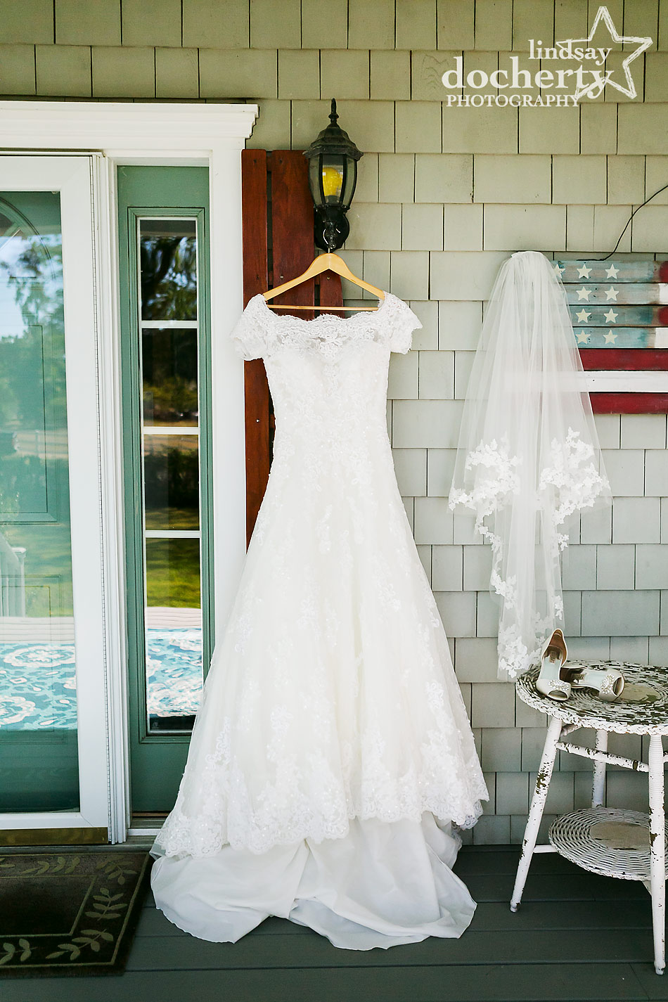 Provonias dress and veil for destination wedding on Shelter Island, New York