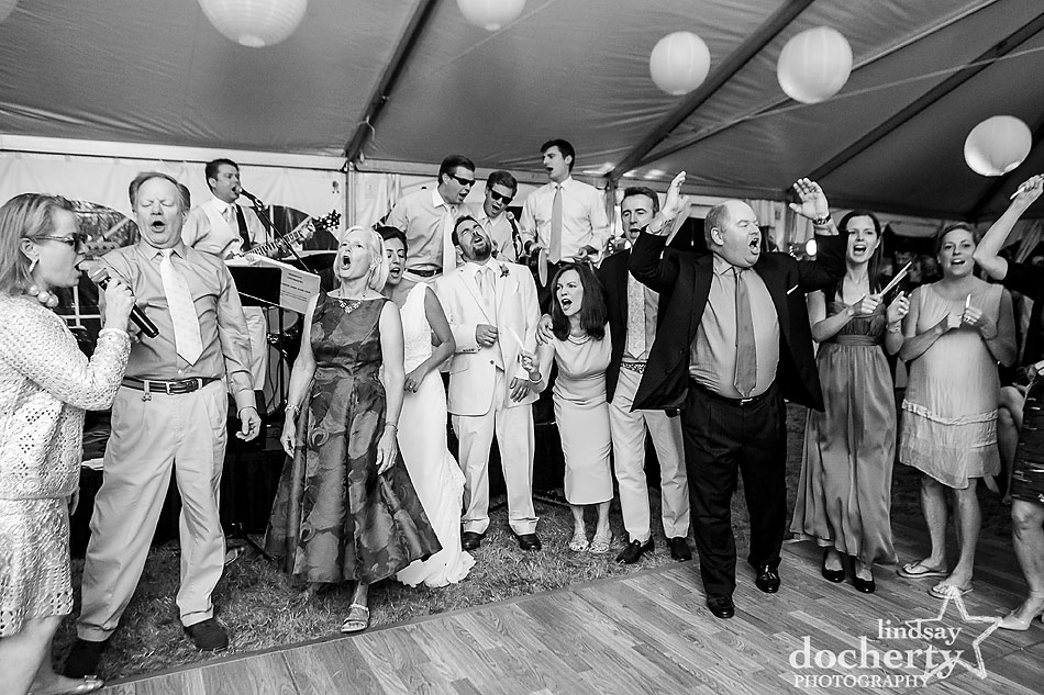 family singalong at tent wedding on Shelter Island in New York