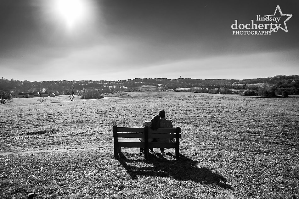 black-and-white-engagement-picture-on-hill-at-Brandywine-State-Park-in-Delaware