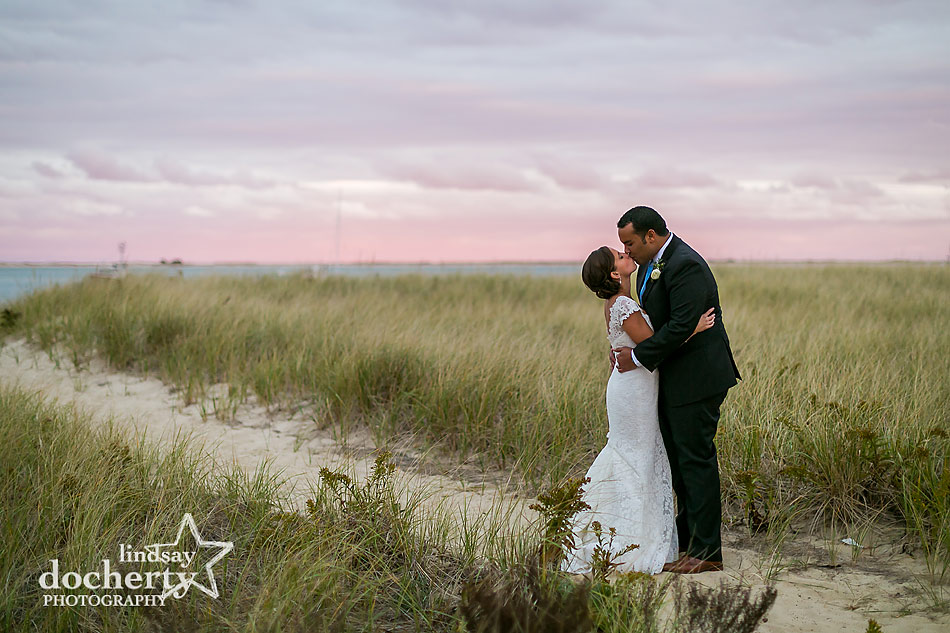 bride-and-groom-at-sunset-at-Chatham-Bars-Inn-wedding-on-Cape-Cod