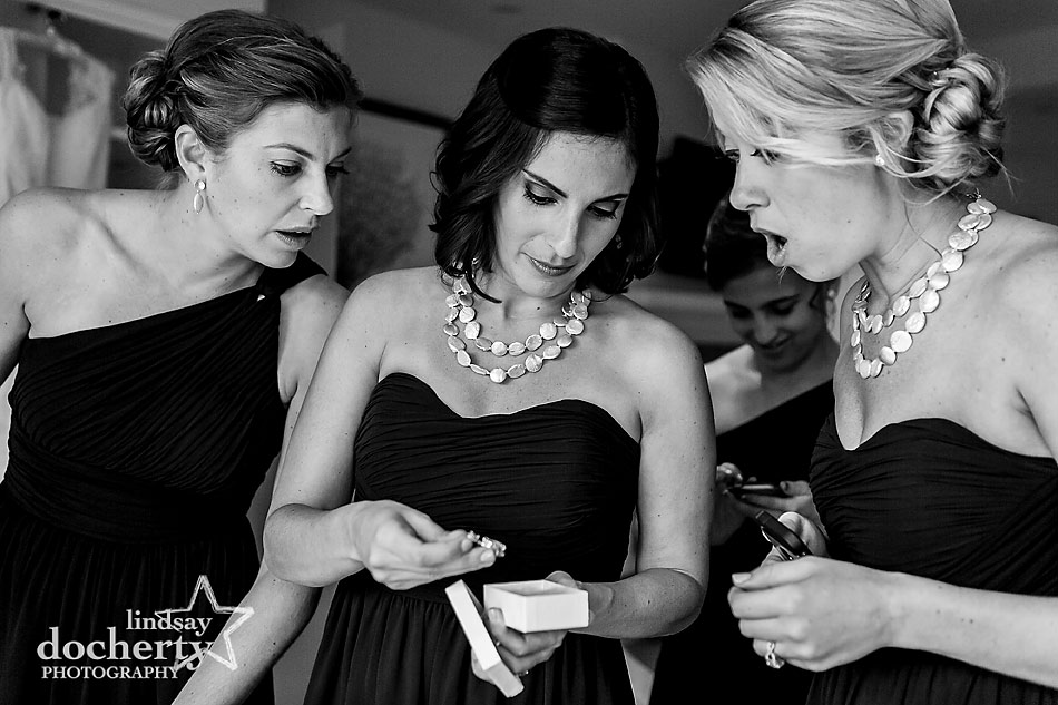 bridesmaids-looking-at-jewelry-at-Chatham-Bars-Inn-wedding-on-Cape-Cod