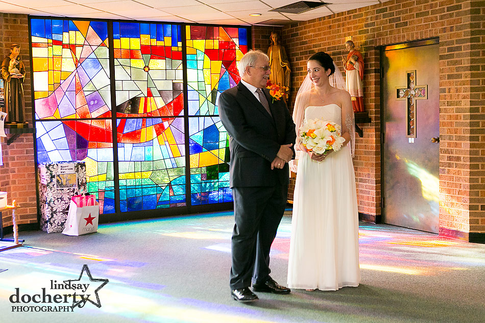 father-and-bride-before-wedding-ceremony-at-S-Philip-Neri-Church-in-Lafayette-Hill