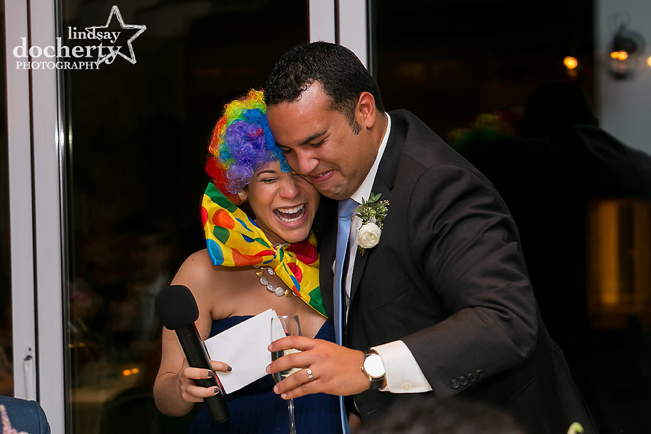 groom-sister-speech-as-clown-at-Chatham-Bars-Inn-wedding-on-Cape-Cod