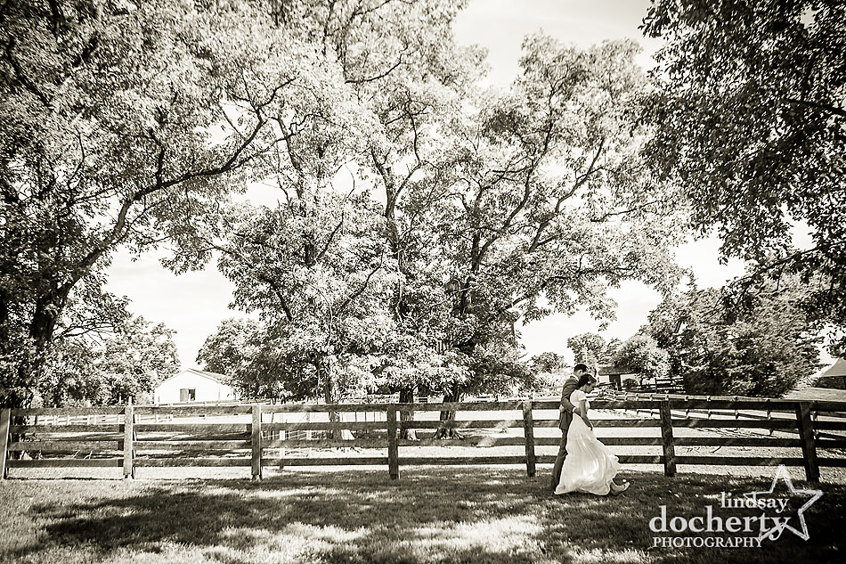 bride-and-groom-recessional-after-wedding-at-farm