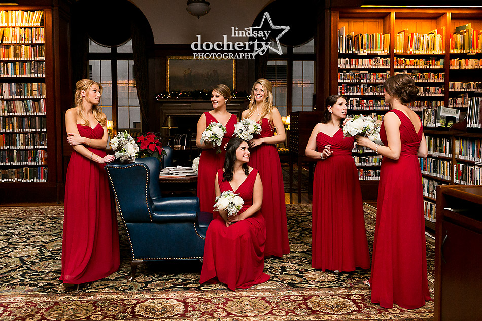 bridesmaids-in-long-red-dresses-for-Union-League-Philadelphia-wedding
