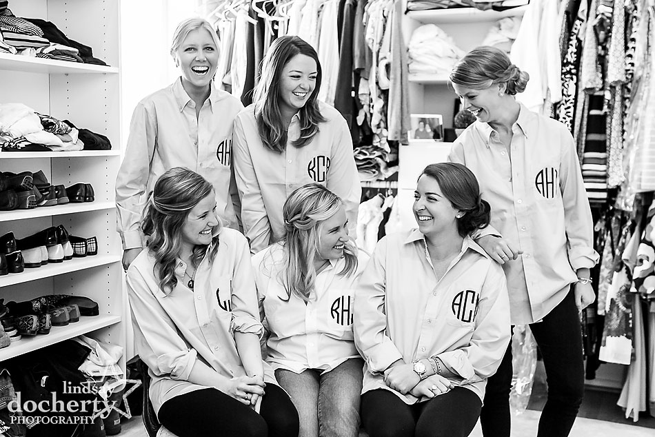 bridesmaids-in-monogramed-shirts-before-wedding-ceremony