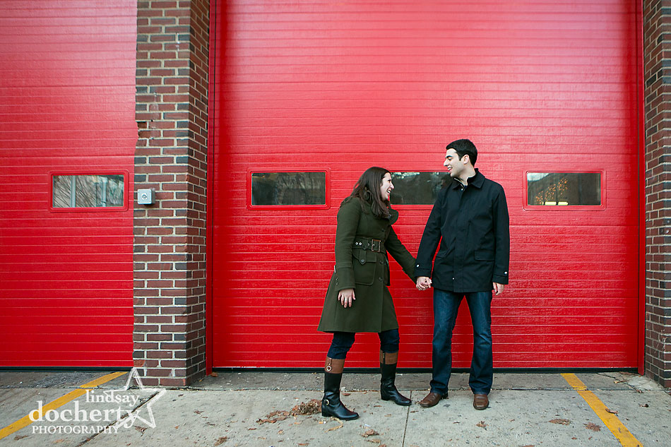 engagement-session-in-front-of-fire-station-in-Philadelphia