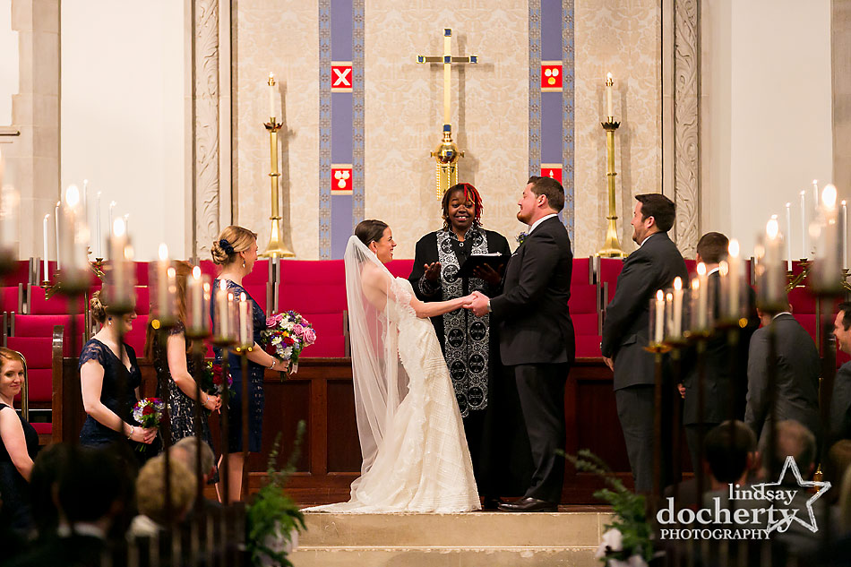 bride-and-groom-laughing-during-wedding-ceremony-at-Wayne-Presbyterian-Church