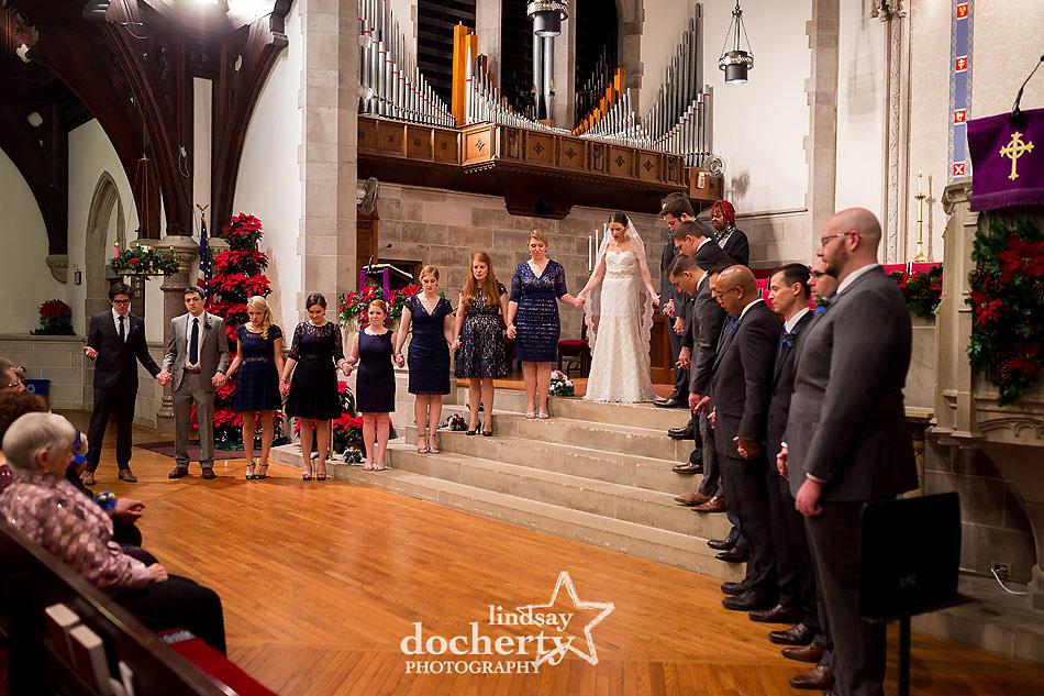 group-prayer-during-wedding-ceremony-at-Wayne-Presbyterian-Church