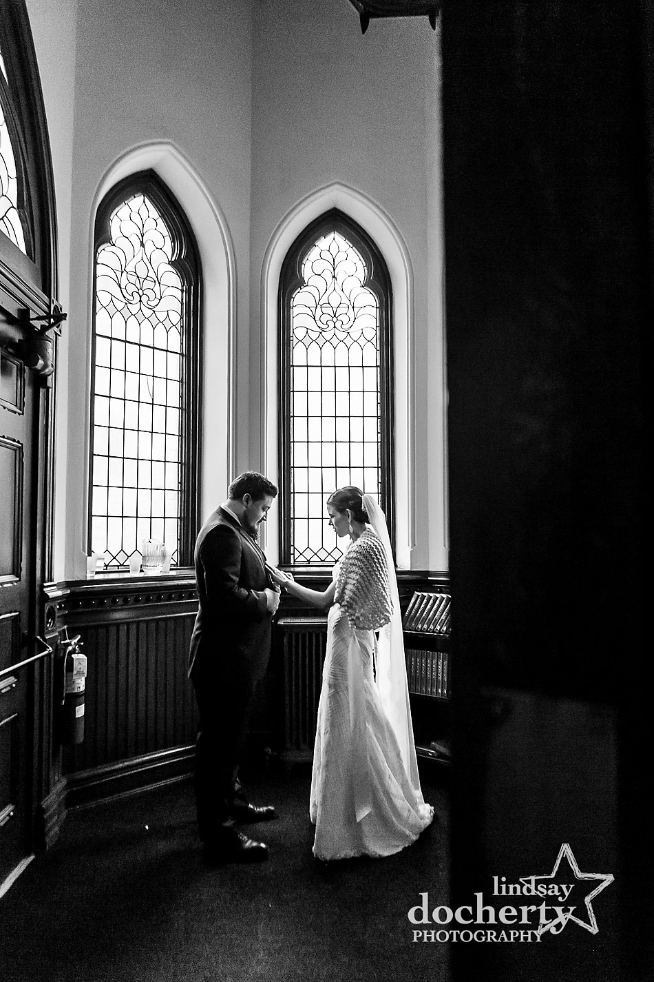tender-moment-after-wedding-ceremony-at-Wayne-Presbyterian-Church