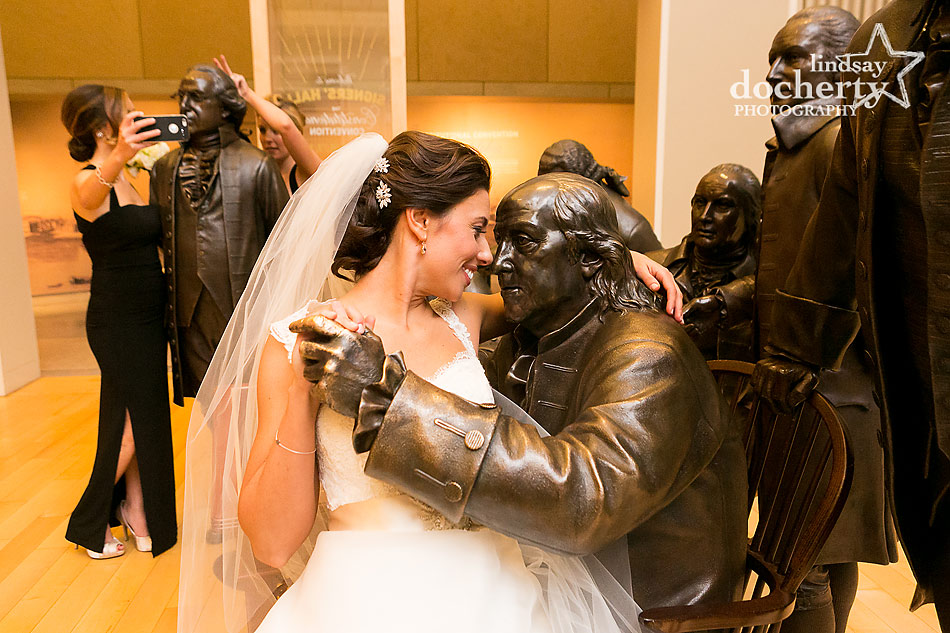 National-Constitution-Center-statue-room-with-wedding-party