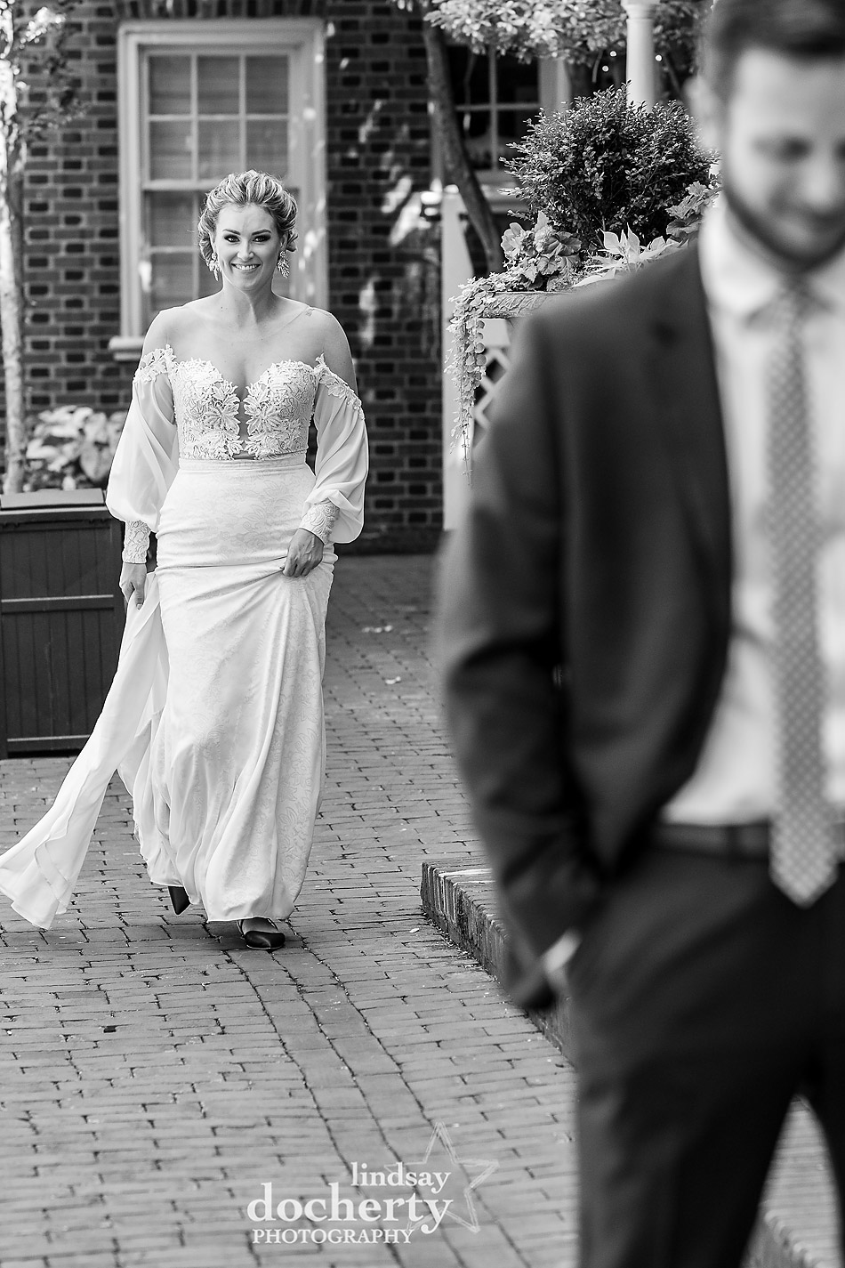 Philadelphia wedding photographey first look in front of Morris House Hotel
