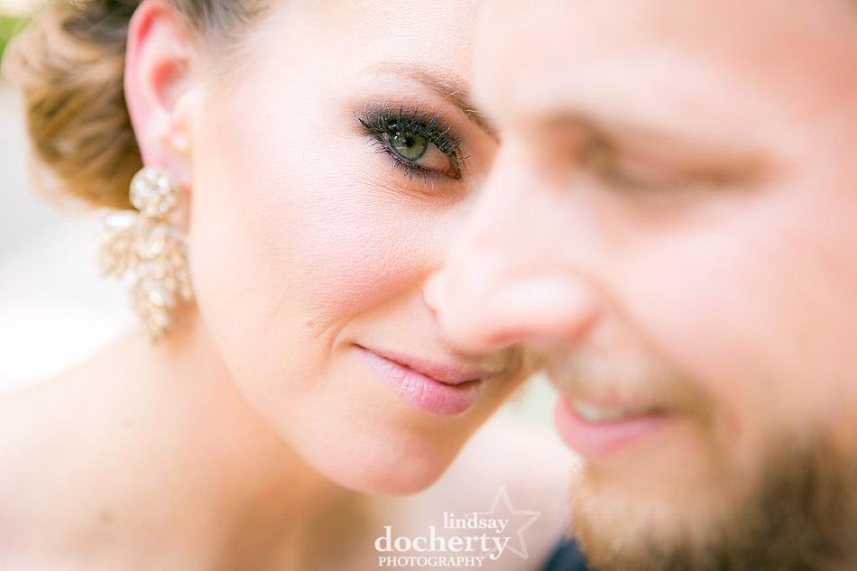 closeup of green-eyed bride and groom Philadelphia wedding photographer at Morris House Hotel