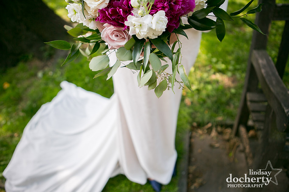 Philadelphia wedding photographer at Morris House Hotel white magenta and pink flowers in wedding bouquet