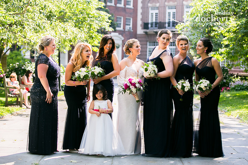 Philadelphia wedding photographer at Morris House Hotel bridal party pictures in Washington Square with bridesmaids