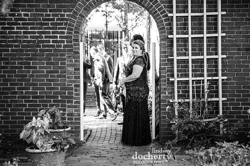 Philadelphia wedding photographer at Morris House Hotel before ceremony begins