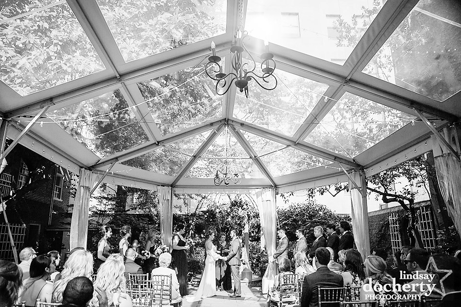 ceremony outside under clear tent Philadelphia wedding photographer at Morris House Hotel