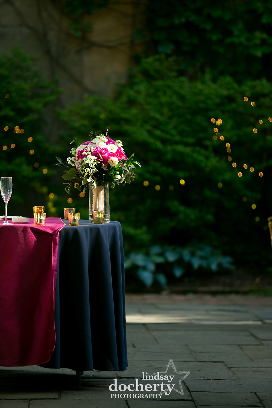 navy and magenta linens with gold accents Philadelphia wedding photographer at Morris House Hotel