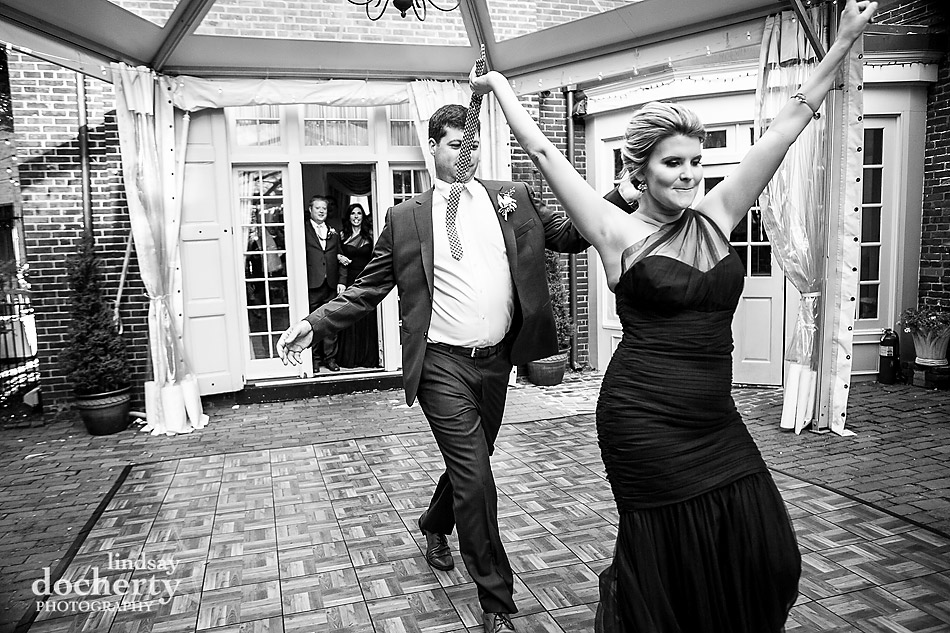 Philadelphia wedding photographer at Morris House Hotel bridesmaid and groomsmen introductions into reception