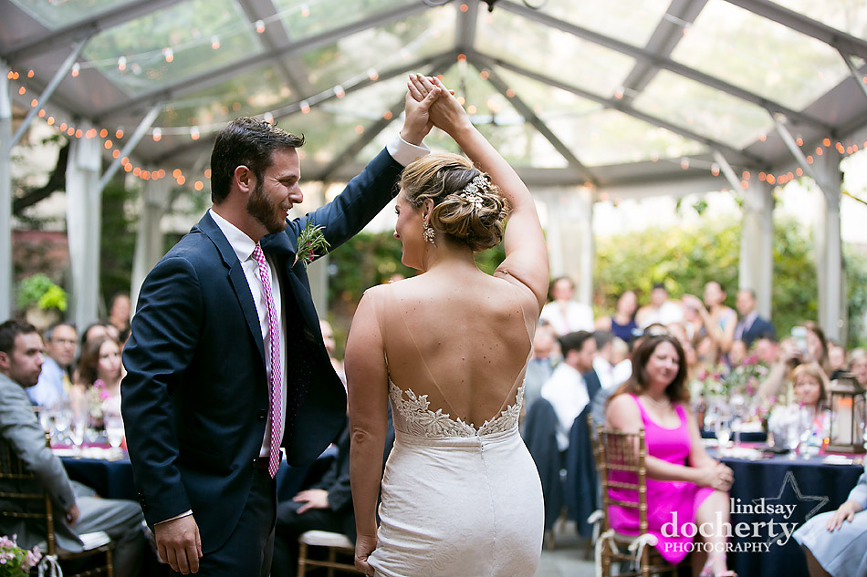 Philadelphia wedding photographer at Morris House Hotel bride and groom first dance outdoors