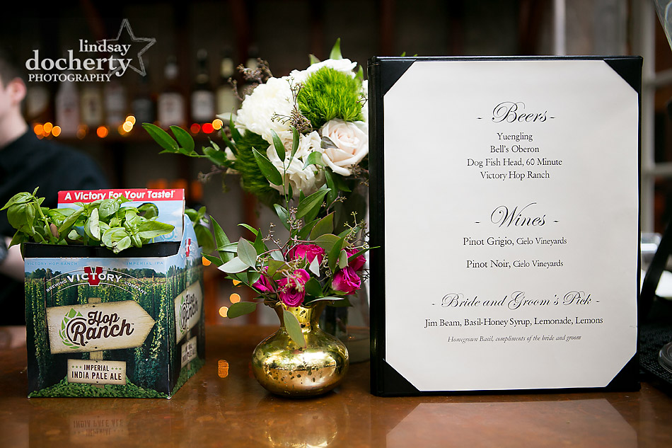custom wedding cocktail drink with basil Philadelphia wedding photographer at Morris House Hotel