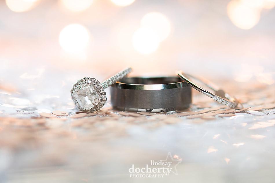 cushion cut diamond and platinum engagement and wedding bands Philadelphia wedding photographer at Morris House Hotel