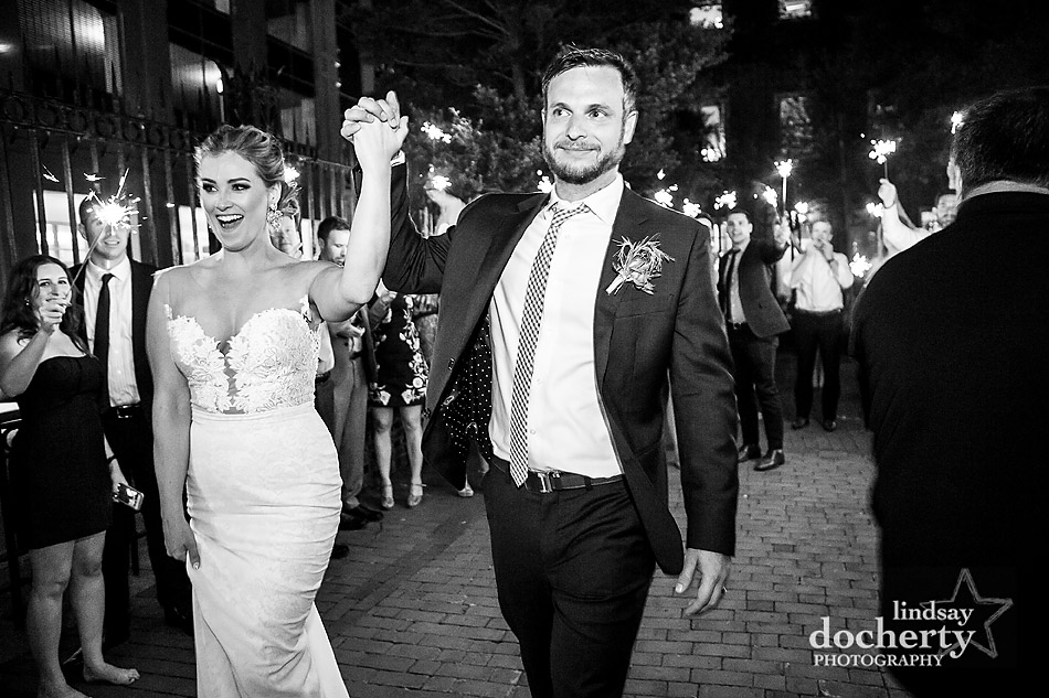 grand sparkler exit Philadelphia wedding photographer at Morris House Hotel