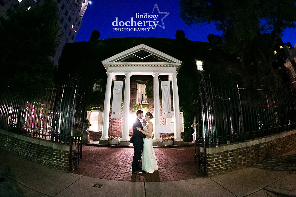 Philadelphia wedding photographer at Morris House Hotel night picture with bride and groom