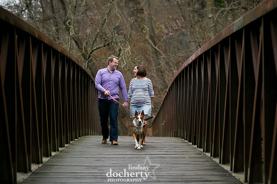 Philadelphia maternity photo session in the fall with dog outside