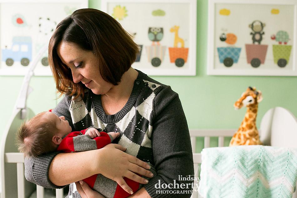 newborn photo session in Philadelphia nursery with mother