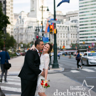 Philadelphia City Hall wedding couple in front of Australian flag