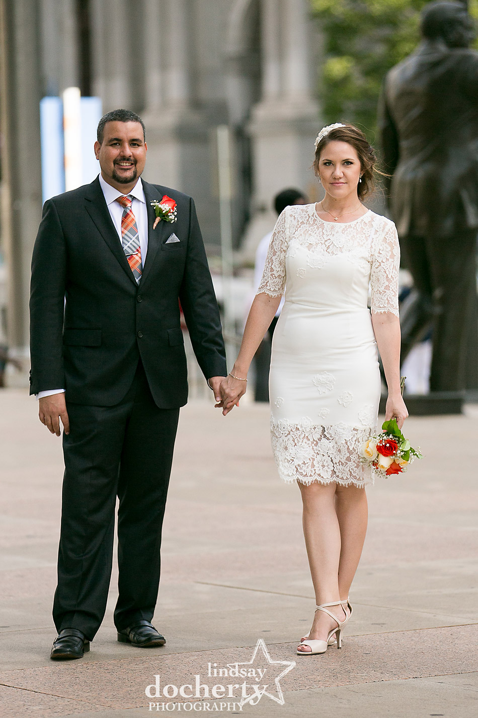 attractive couple married at Philadelphia City Hall