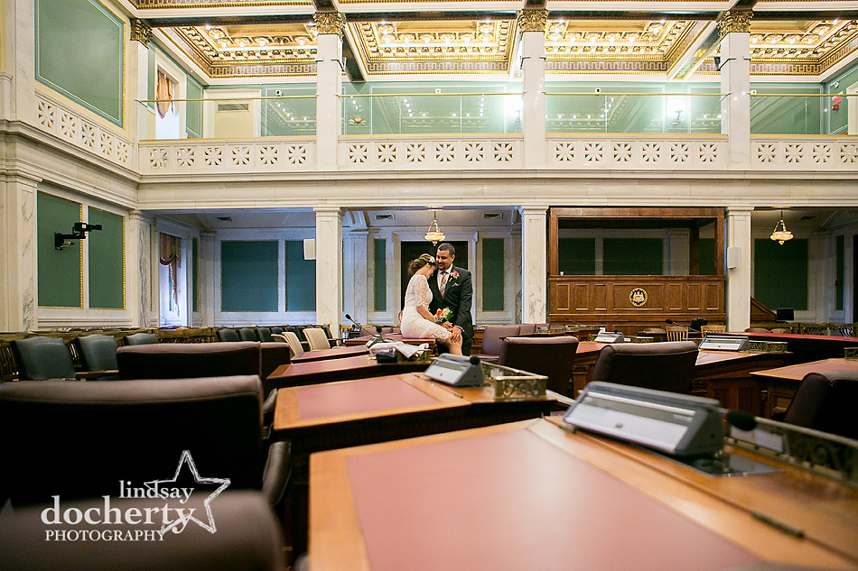 wedding couple in Philadelphia City Hall ornate courtroom